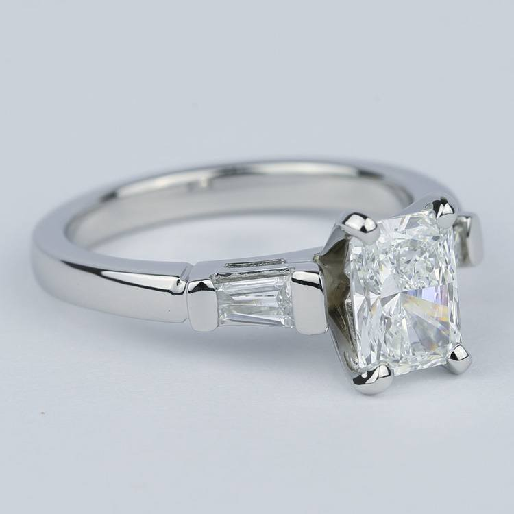 Radiant Diamond Engagement Ring with Baguette Side Diamonds angle 3