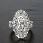 Baguette Diamond Double Halo 1920s Style Engagement Ring - small