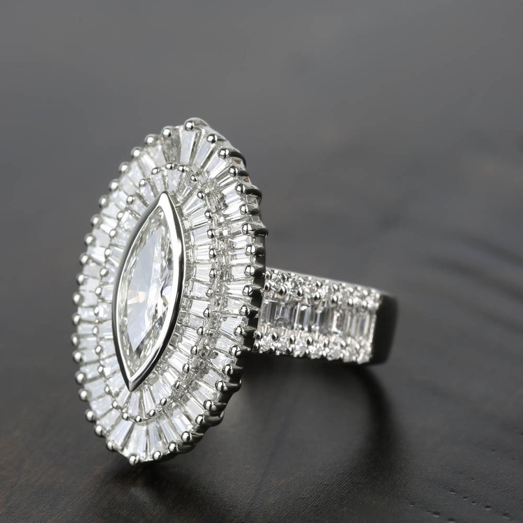 Baguette Diamond Double Halo 1920s Style Engagement Ring angle 2