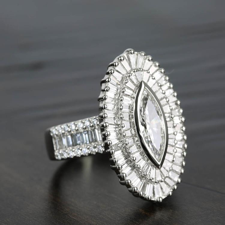 Baguette Diamond Double Halo 1920s Style Engagement Ring angle 3