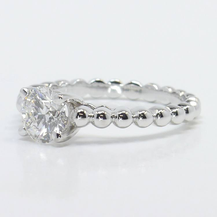 Beaded Cathedral 1 Carat Round Solitaire Diamond Engagement Ring angle 2