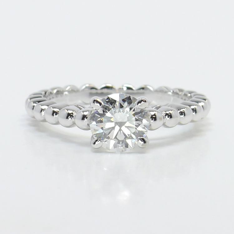 Beaded Cathedral 1 Carat Round Solitaire Diamond Engagement Ring