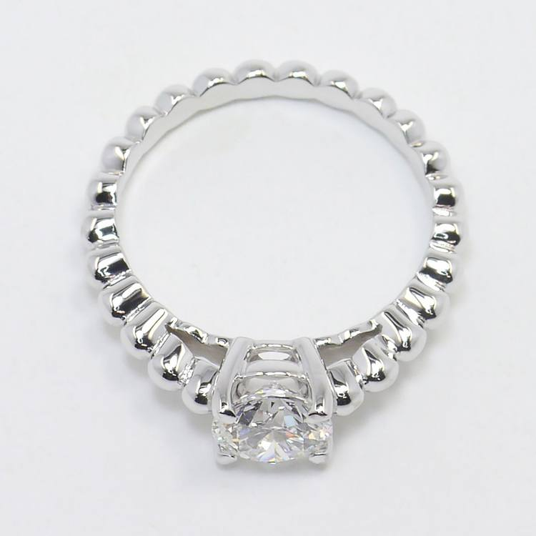 Beaded Cathedral 1 Carat Round Solitaire Diamond Engagement Ring angle 4