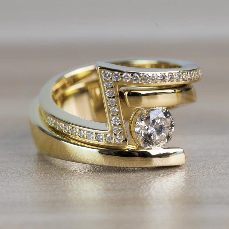 Beautiful Bypass Engagement Ring Bridal Set in Yellow Gold angle 3