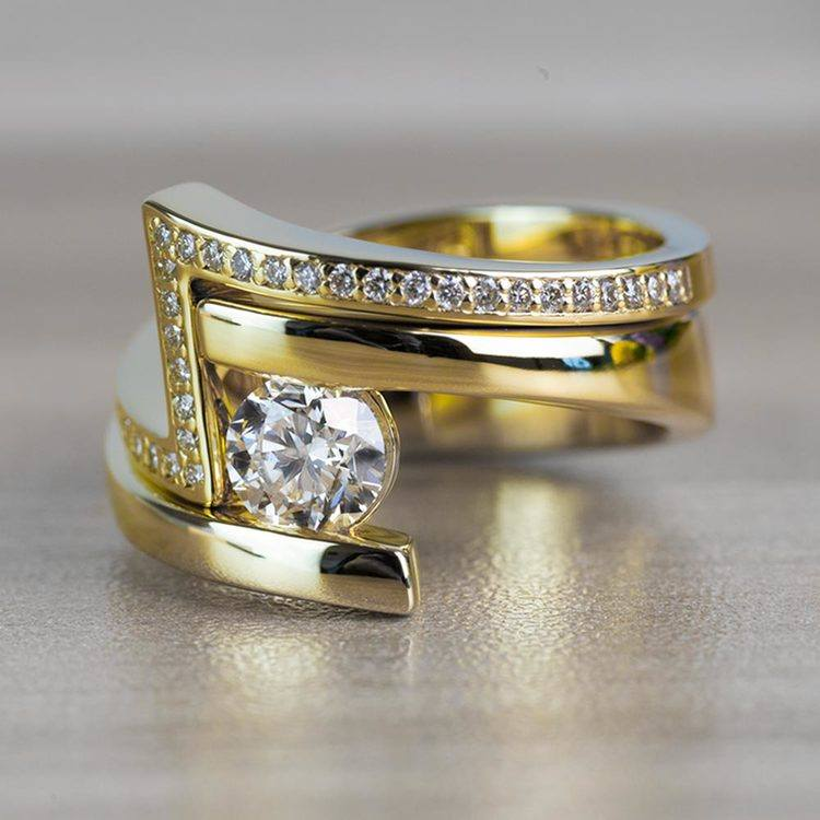 Beautiful Bypass Engagement Ring Bridal Set in Yellow Gold angle 2