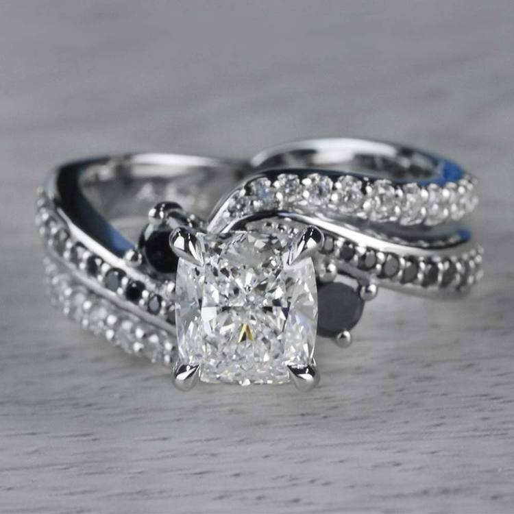 Cushion Cut Diamond With Black Diamond Accents Ring