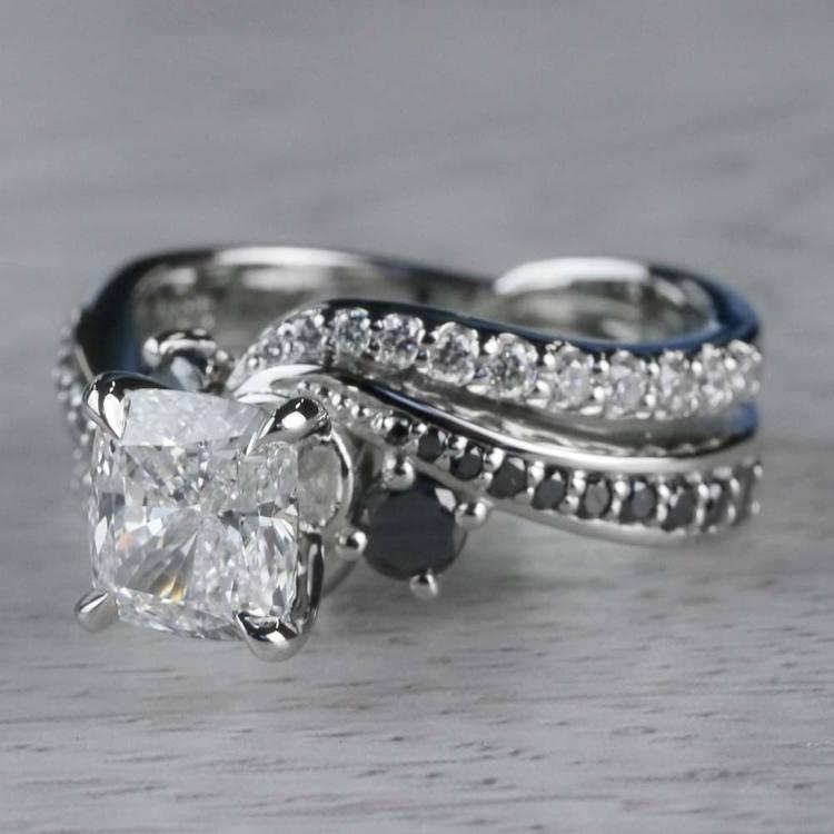 Cushion Cut Diamond With Black Diamond Accents Ring angle 2