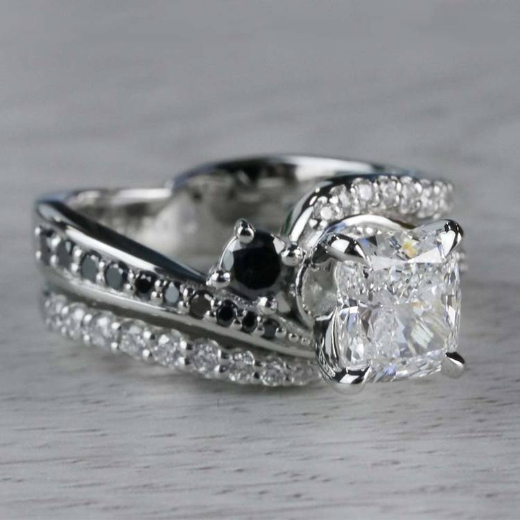 Cushion Cut Diamond With Black Diamond Accents Ring angle 3