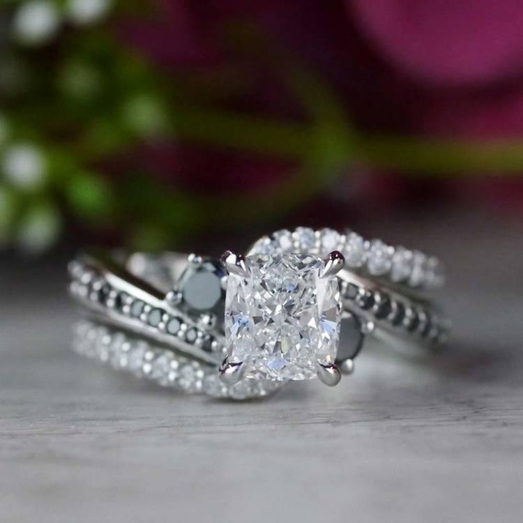 Cushion Cut Diamond With Black Diamond Accents Ring angle 5