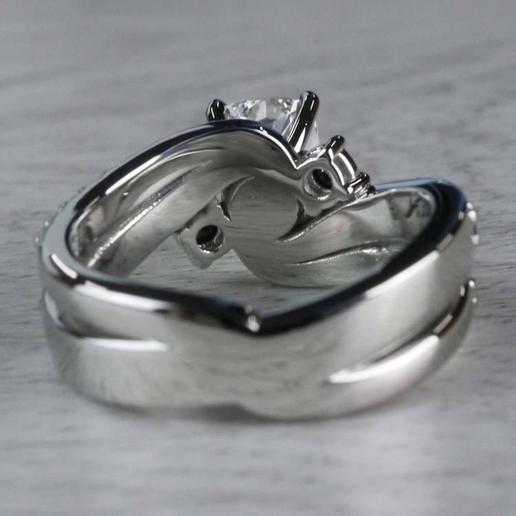 Cushion Cut Diamond With Black Diamond Accents Ring angle 4