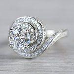 Beautiful Double Halo Swirling Diamond Engagement - small angle 2