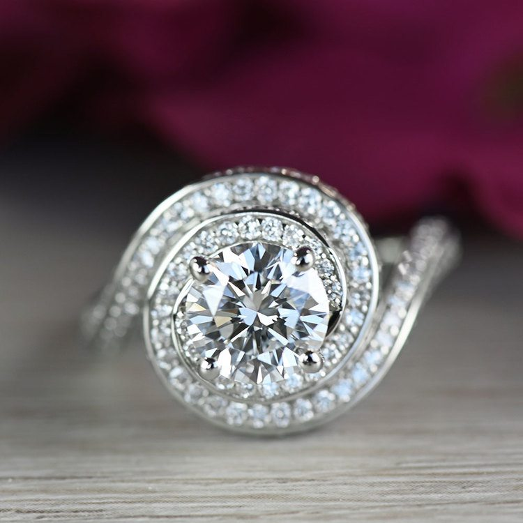 Beautiful Double Halo Swirling Diamond Engagement angle 5