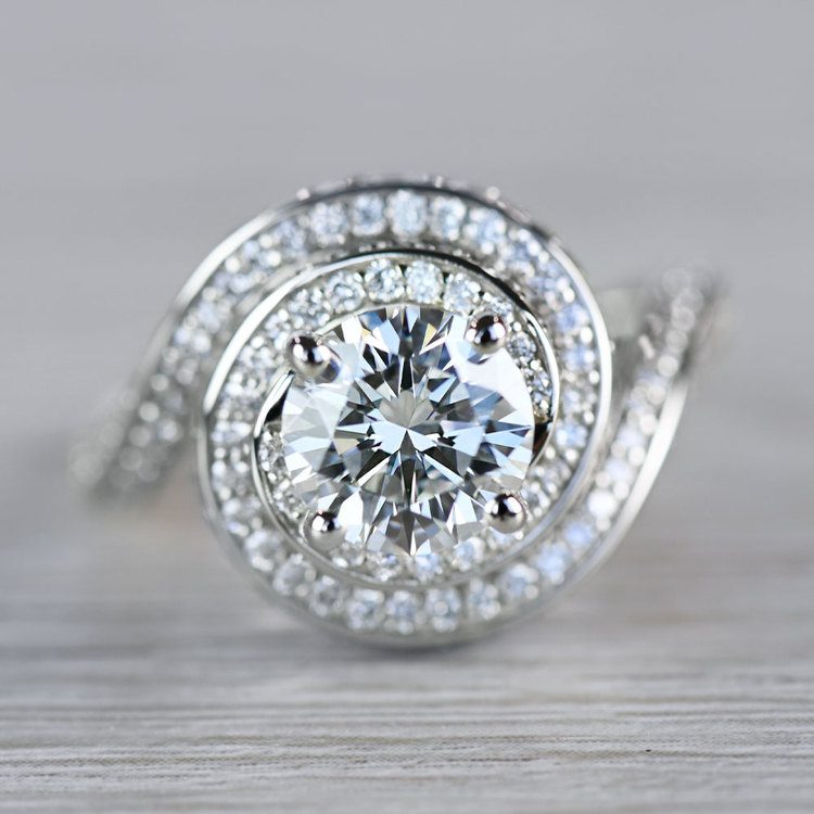 Beautiful Double Halo Swirling Diamond Engagement
