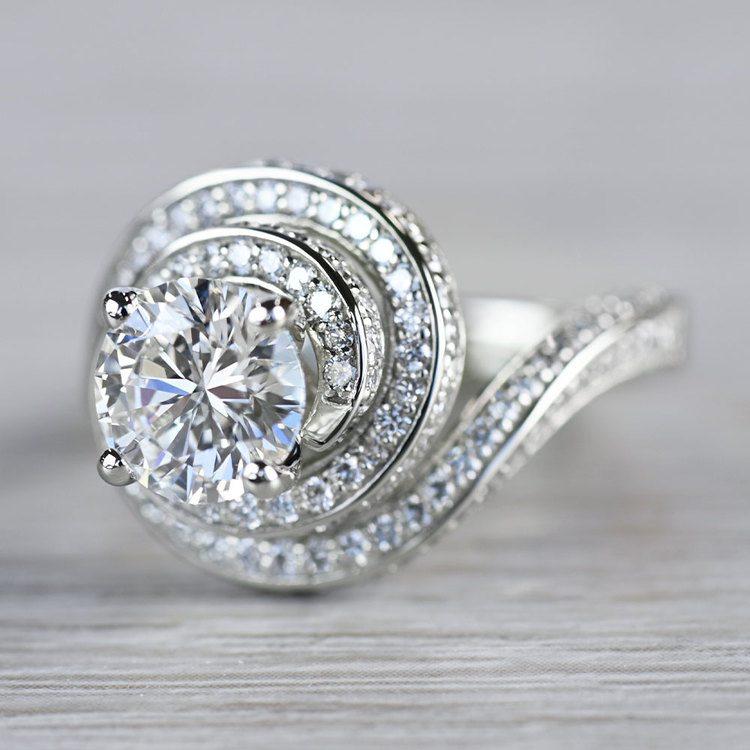 Beautiful Double Halo Swirling Diamond Engagement angle 2