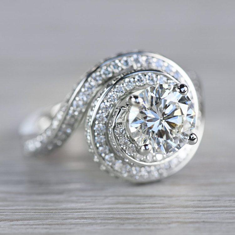 Beautiful Double Halo Swirling Diamond Engagement angle 3