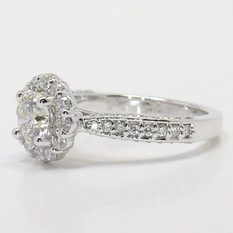 Custom 0.90 Carat Round Floral Halo Diamond Engagement Ring angle 2