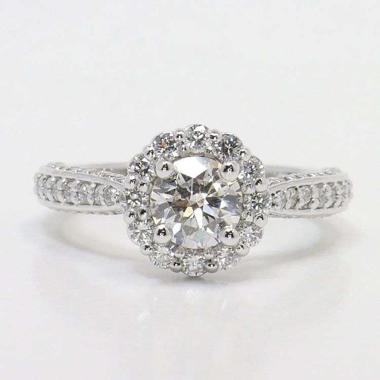Custom 0.90 Carat Round Floral Halo Diamond Engagement Ring