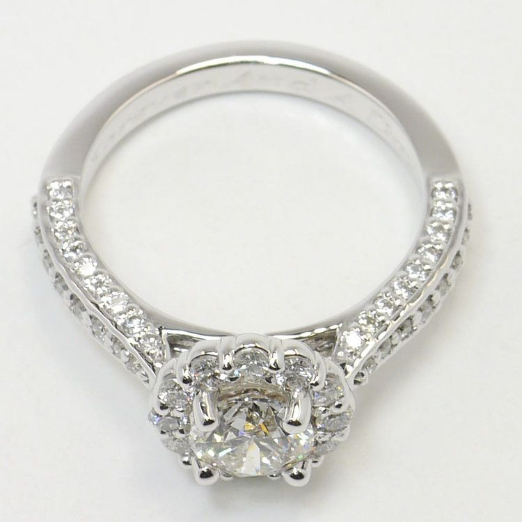 Custom 0.90 Carat Round Floral Halo Diamond Engagement Ring angle 4