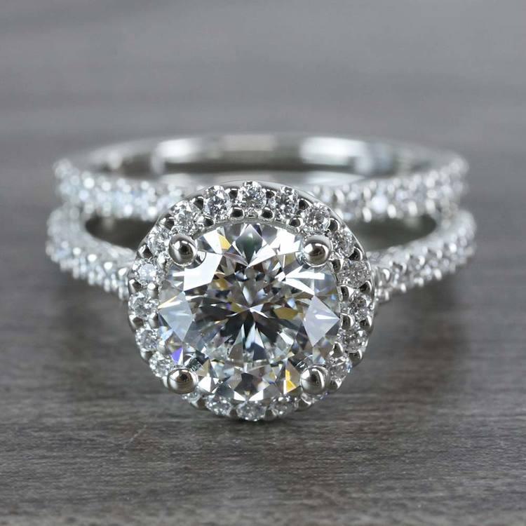 Beautiful Halo Engagement 2 Carat Diamond Ring & Matching Band