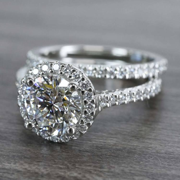 Beautiful Halo Engagement 2 Carat Diamond Ring & Matching Band angle 2