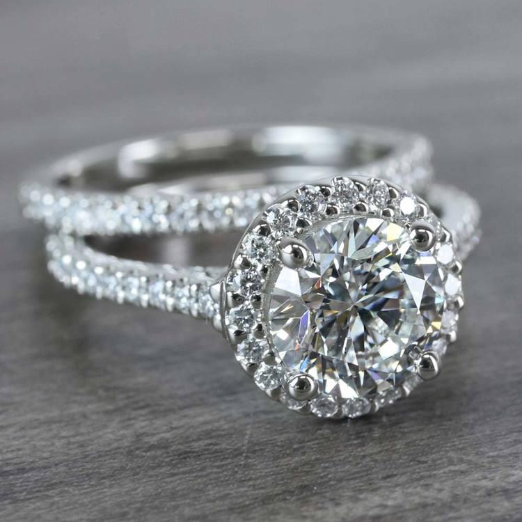 Beautiful Halo Engagement 2 Carat Diamond Ring & Matching Band angle 3