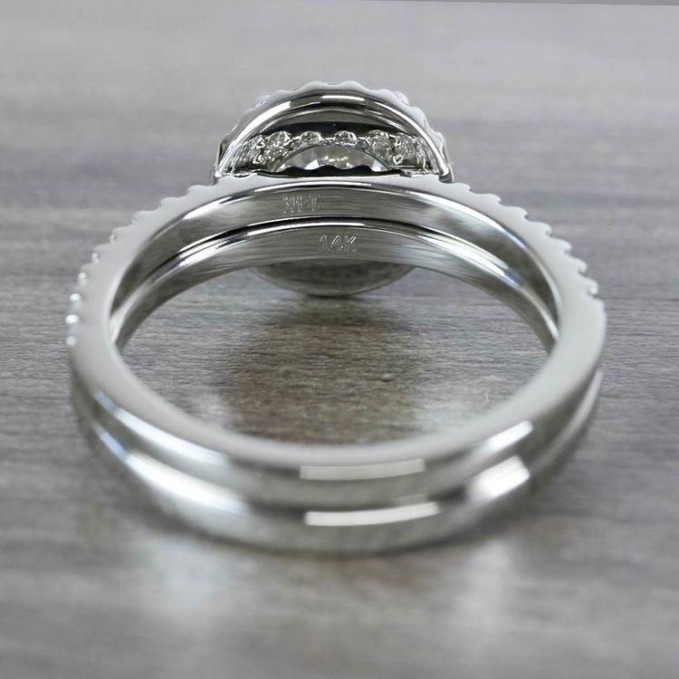 Beautiful Halo Engagement 2 Carat Diamond Ring & Matching Band angle 4