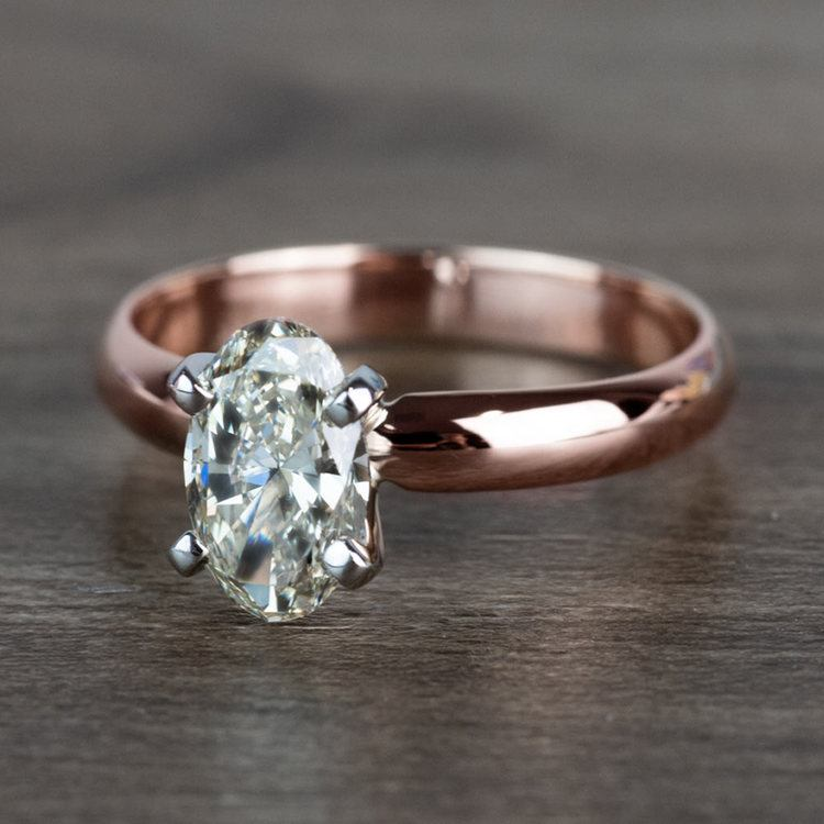 Beautiful Oval Diamond Rose Gold Solitaire Engagement Ring angle 2
