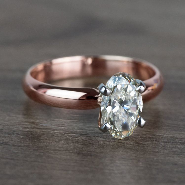 Beautiful Oval Diamond Rose Gold Solitaire Engagement Ring angle 3