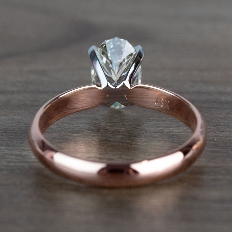 Beautiful Oval Diamond Rose Gold Solitaire Engagement Ring angle 4