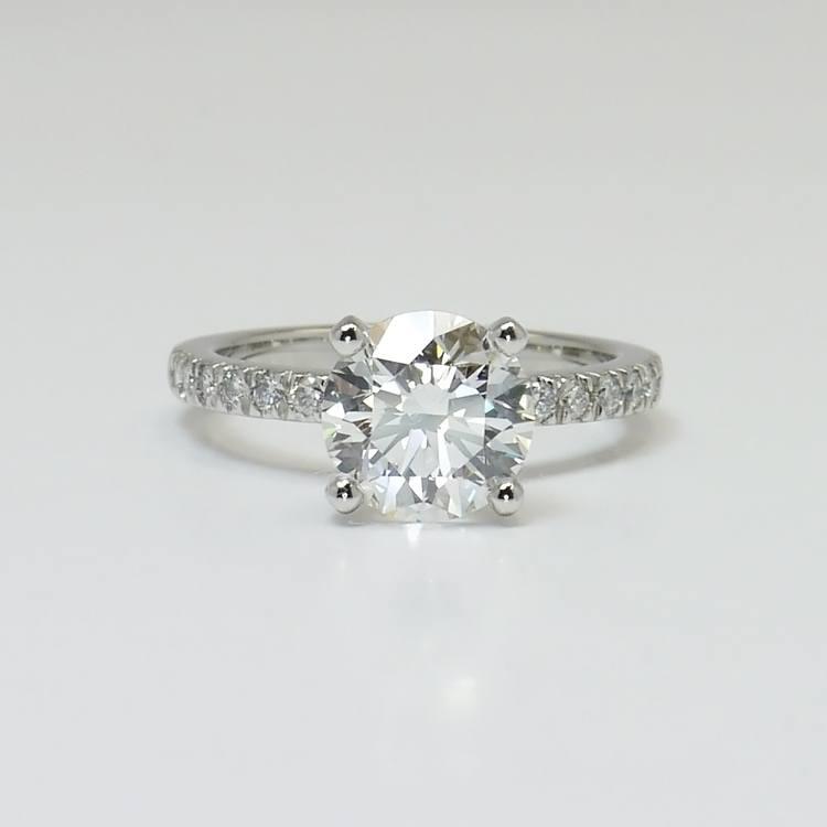 Petite Pave 2.75 Carat Round Diamond Engagement Ring