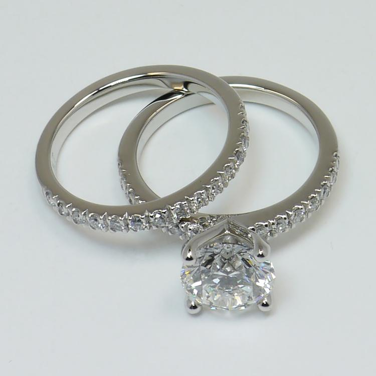 Petite Pave 2.75 Carat Round Diamond Engagement Ring angle 4