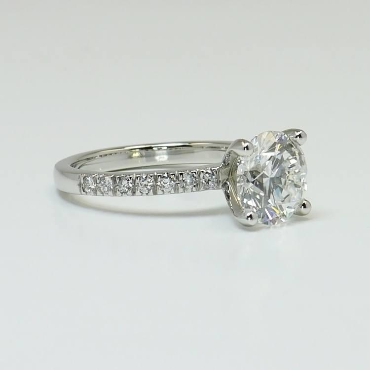 Petite Pave 2.75 Carat Round Diamond Engagement Ring angle 3