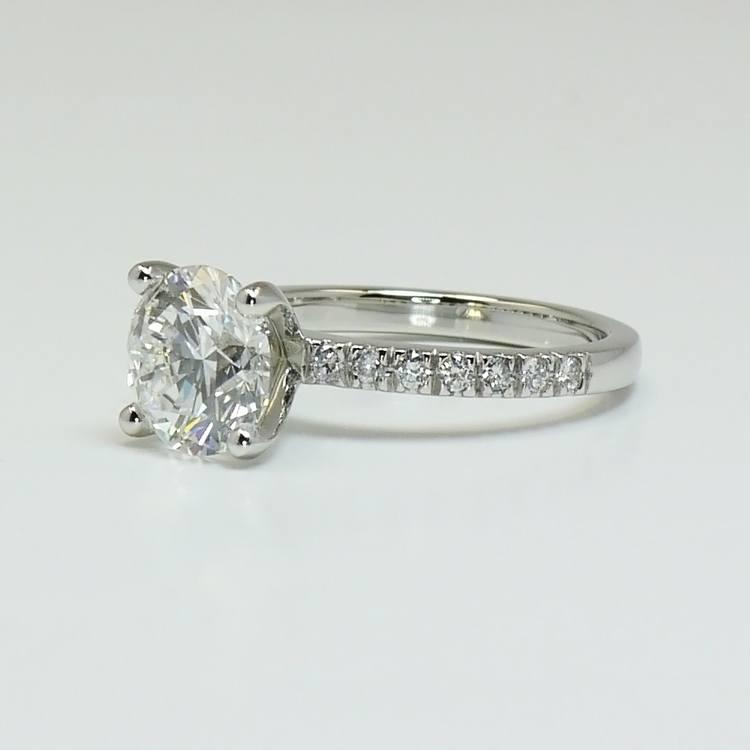 Petite Pave 2.75 Carat Round Diamond Engagement Ring angle 2