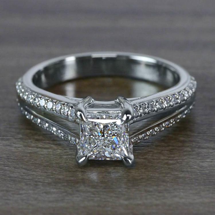 Beautiful Princess Cut Diamond Split Shank Diamond Engagement Ring