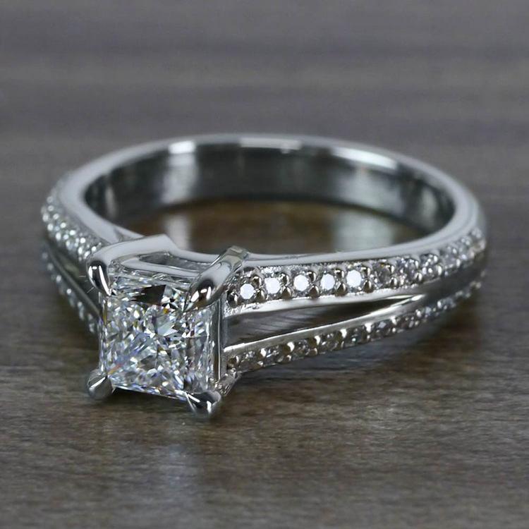 Beautiful Princess Cut Diamond Split Shank Diamond Engagement Ring angle 2