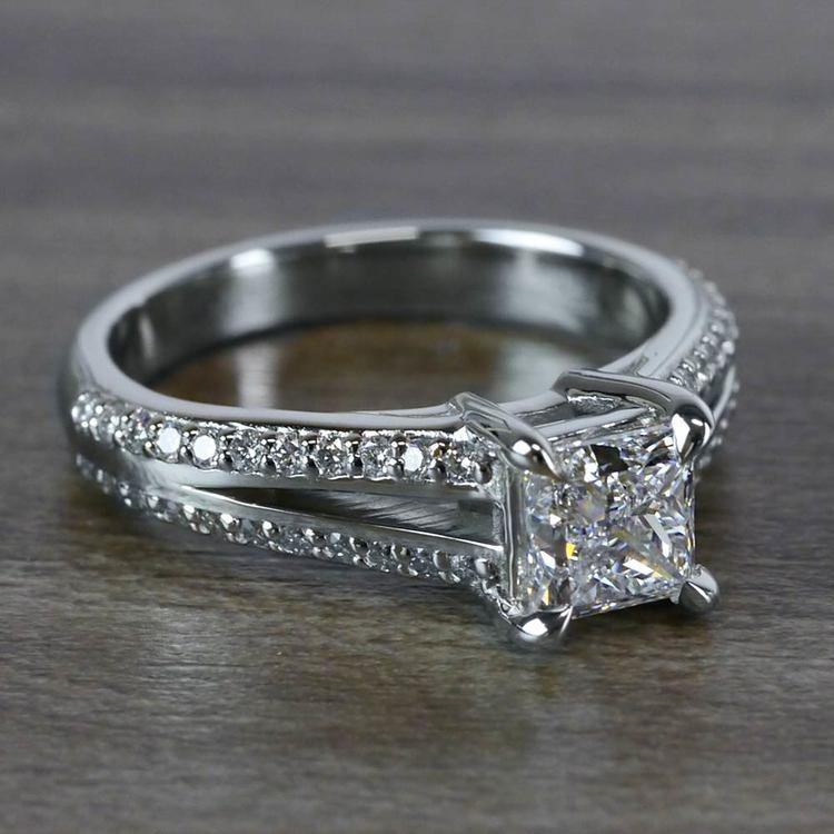 Beautiful Princess Cut Diamond Split Shank Diamond Engagement Ring angle 3