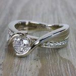 Beautiful Round Cut Diamond Bezel Set Engagement Ring - small angle 2