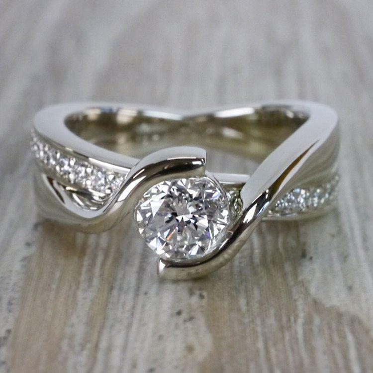 Beautiful Round Cut Diamond Bezel Set Engagement Ring