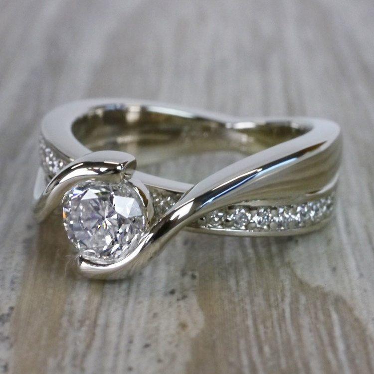 Beautiful Round Cut Diamond Bezel Set Engagement Ring angle 2