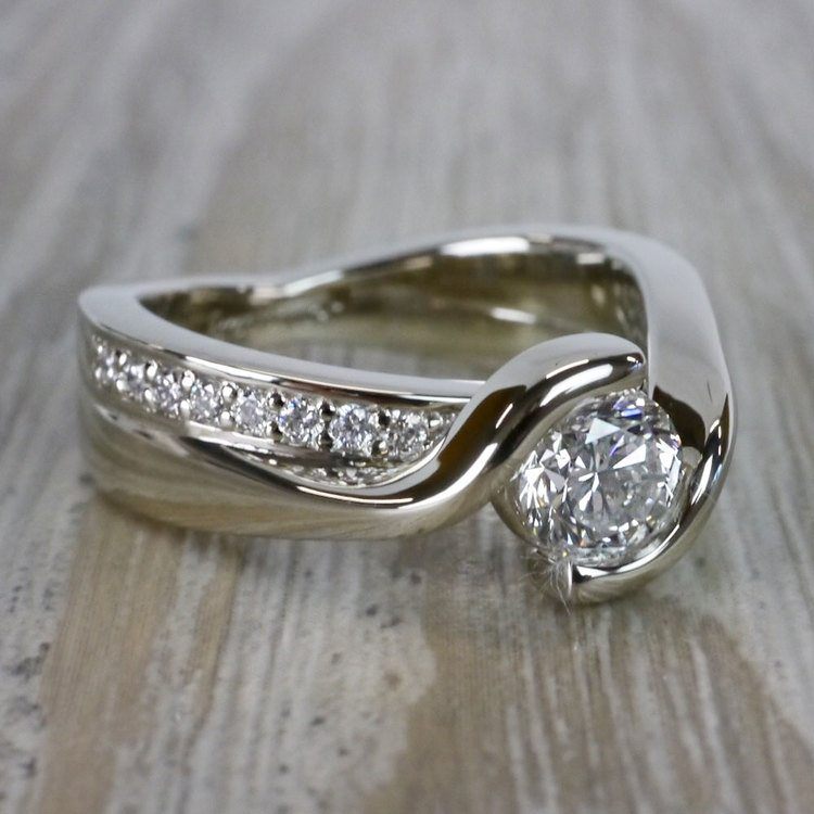 Beautiful Round Cut Diamond Bezel Set Engagement Ring angle 3