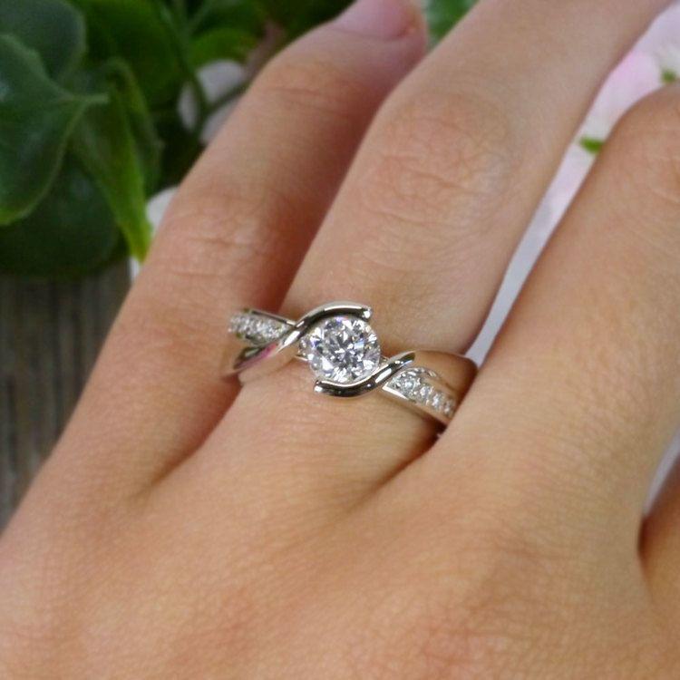 Beautiful Round Cut Diamond Bezel Set Engagement Ring angle 5