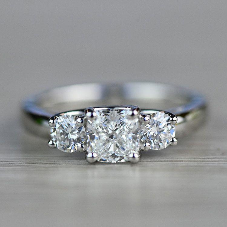 Beautiful Three Trellis Cushion Engagement