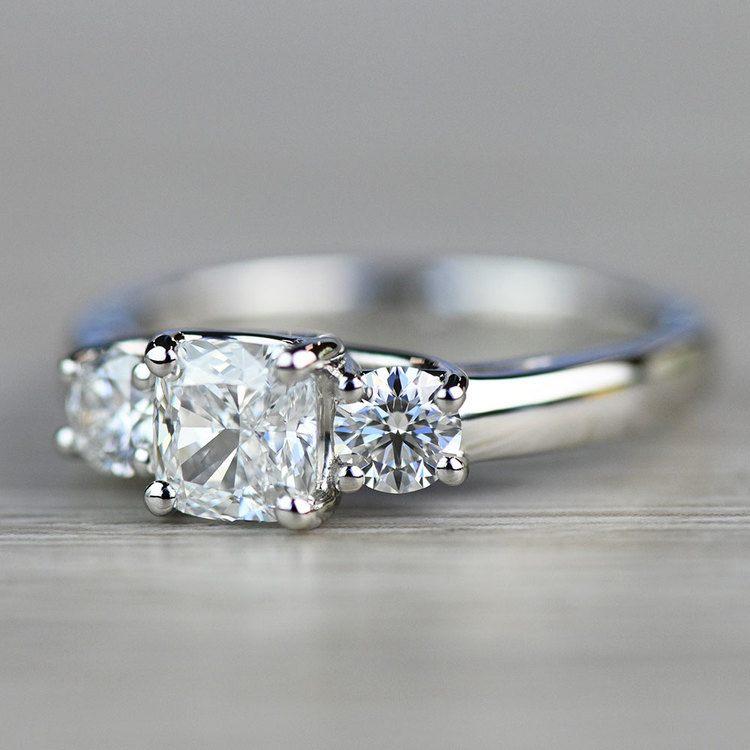 Beautiful Three Trellis Cushion Engagement  angle 3