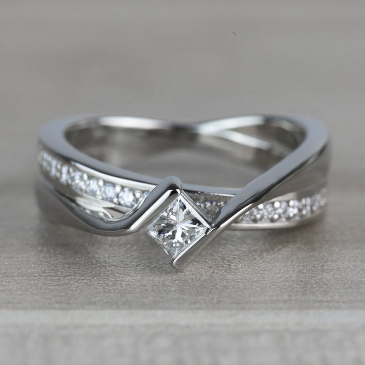 BEST SELLING: Princess Bezel Diamond Bridge Engagement Ring