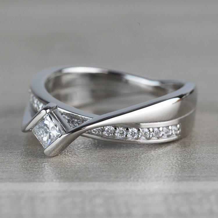 BEST SELLING: Princess Bezel Diamond Bridge Engagement Ring angle 2