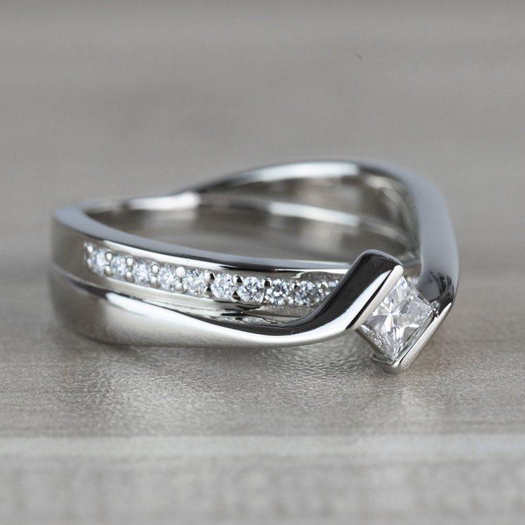 BEST SELLING: Princess Bezel Diamond Bridge Engagement Ring angle 3