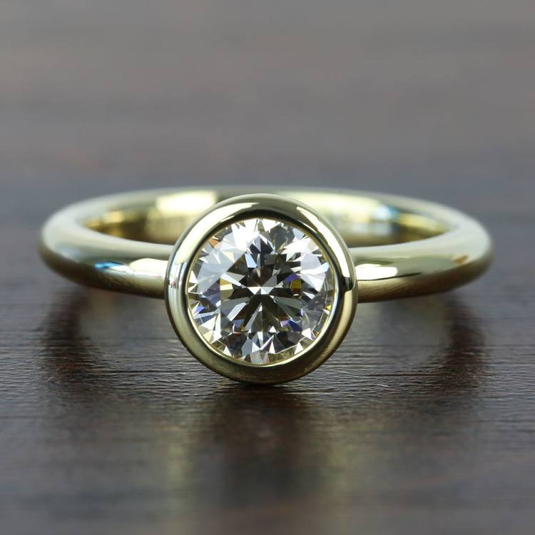 Bezel 1.25 Carat Round Solitaire Diamond Engagement Ring