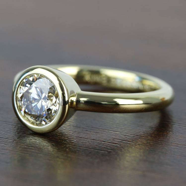 Bezel 1.25 Carat Round Solitaire Diamond Engagement Ring angle 2