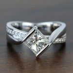 Bezel 1.90 Carat Princess Diamond Bridge Engagement Ring - small