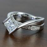 Bezel 1.90 Carat Princess Diamond Bridge Engagement Ring - small angle 2
